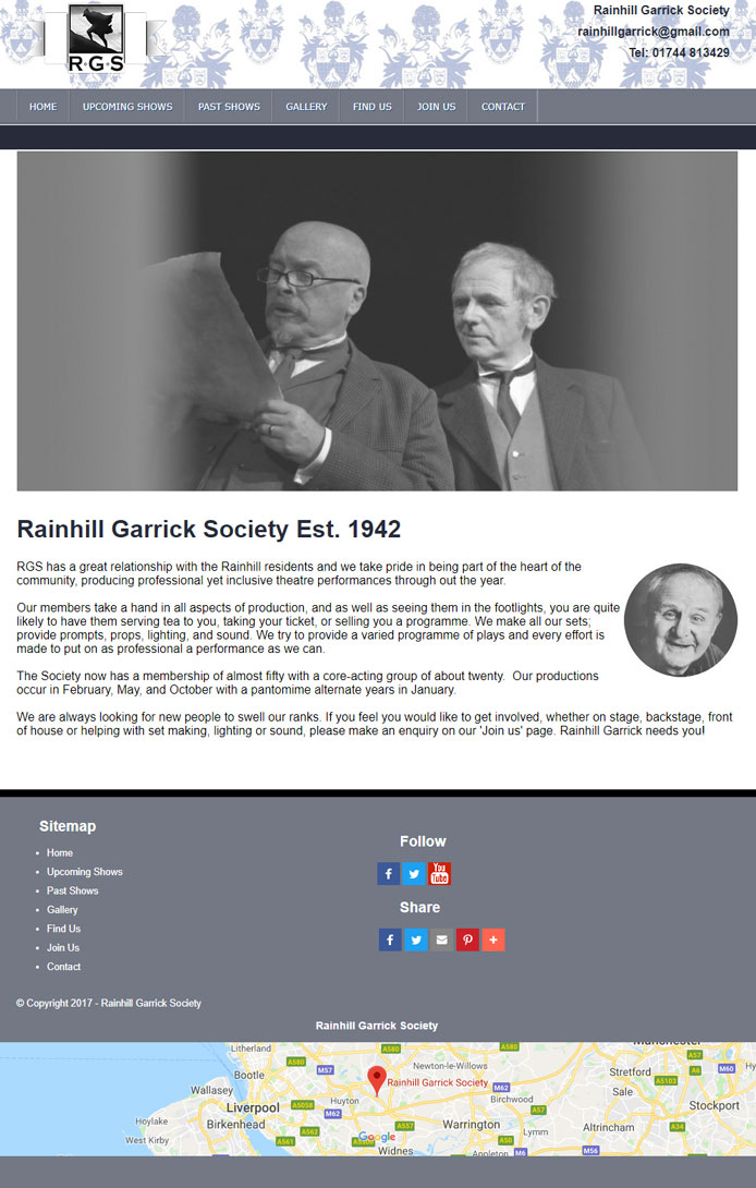 Rainhill Garrick Website