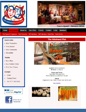 Kingswood Players Web Design